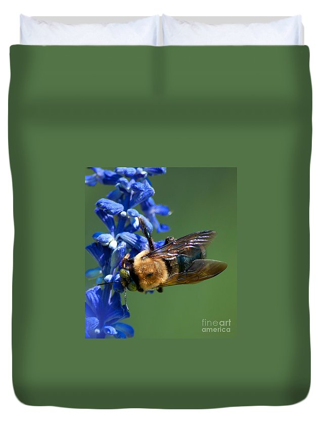Bee Duvet Cover featuring the photograph Bee On Blue by Photos By Cassandra