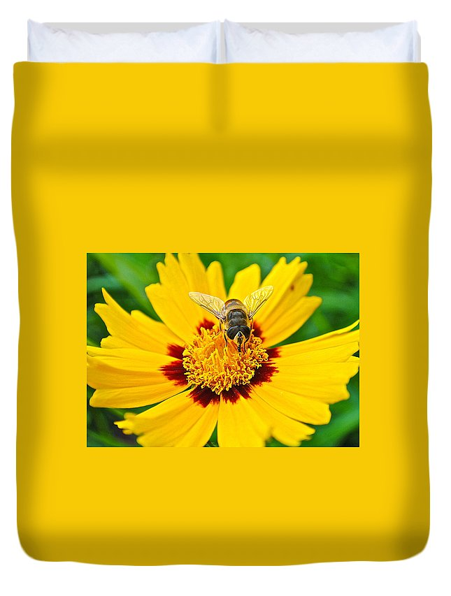 Bee Duvet Cover featuring the photograph Beeautiful by Frozen in Time Fine Art Photography