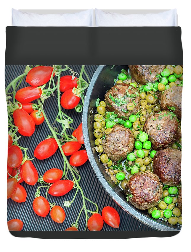 Meatball Duvet Cover featuring the photograph Beef Meatballs With Peas And Lemon by Olga Solan, The Art Photographer