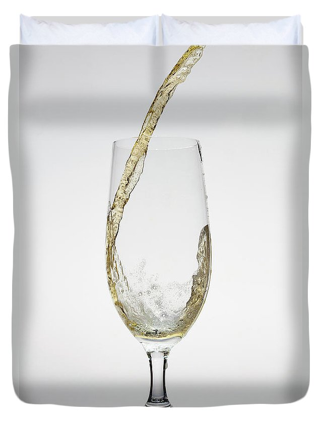 Alcohol Duvet Cover featuring the photograph Beer Being Poured Into A Glass by Dual Dual