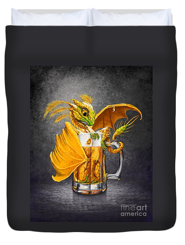 Dragon Duvet Cover featuring the digital art Beer Dragon by Stanley Morrison