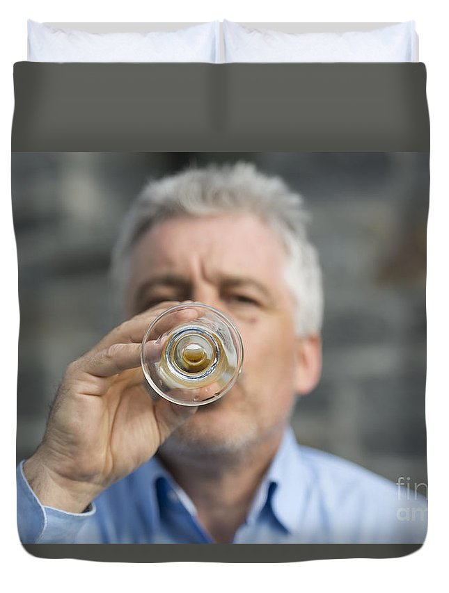 Man Duvet Cover featuring the photograph Beer Drinker by Mats Silvan