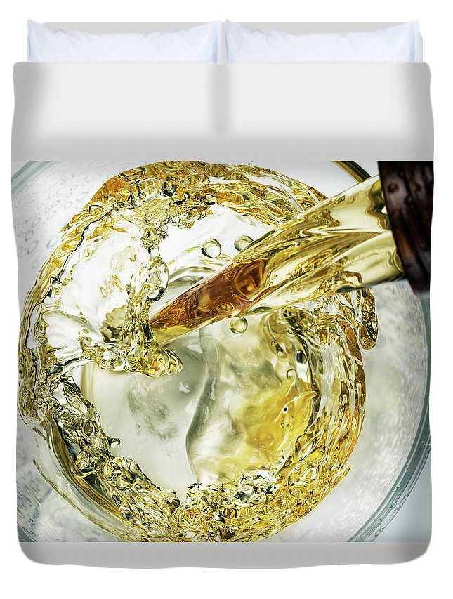 Cold Temperature Duvet Cover featuring the photograph Beer Pour Overhead by Jack Andersen