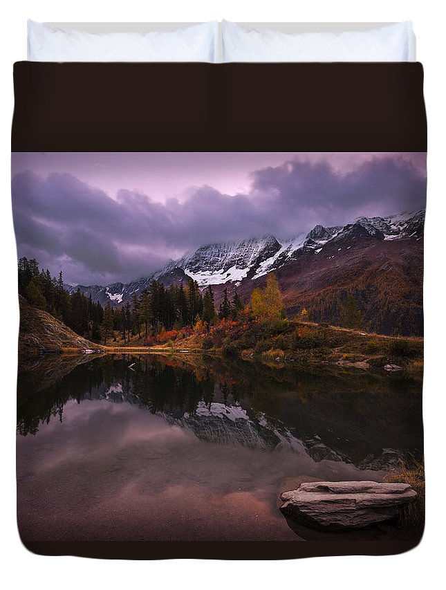 Landscape Duvet Cover featuring the photograph Before Sunrise by Dominique Dubied