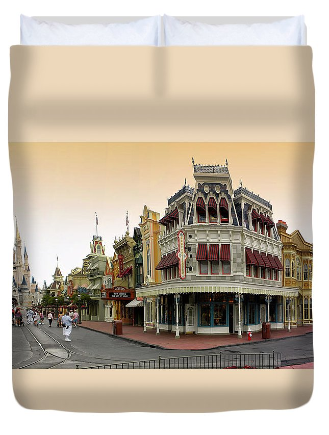Magic Kingdom Duvet Cover featuring the photograph Before The Gates Open Early Morning Magic Kingdom With Castle. by Thomas Woolworth