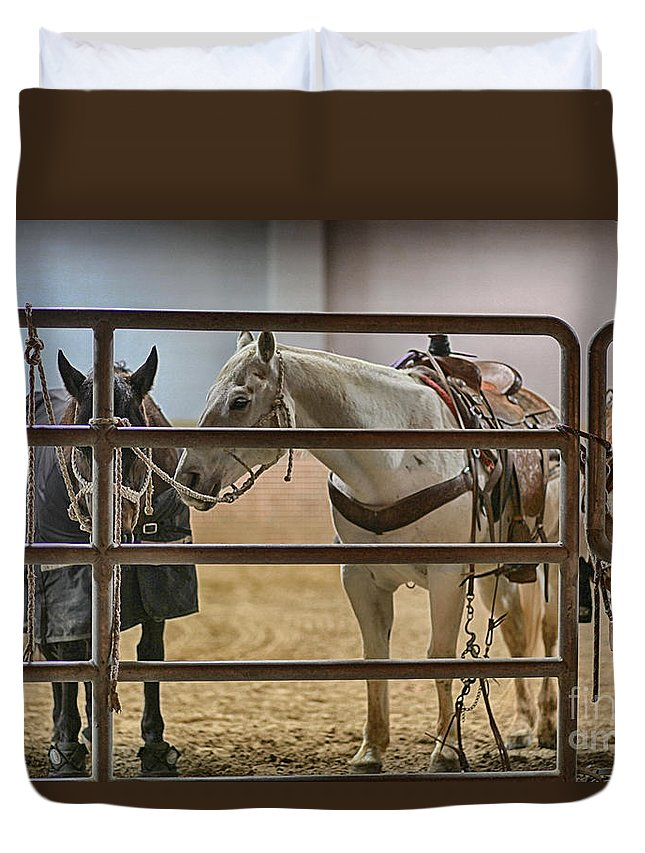 Night Duvet Cover featuring the photograph Before The Rodeo by Douglas Barnard