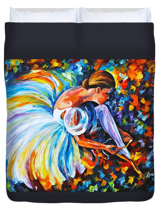 Ballet Duvet Cover featuring the painting Before The Show 2 by Leonid Afremov