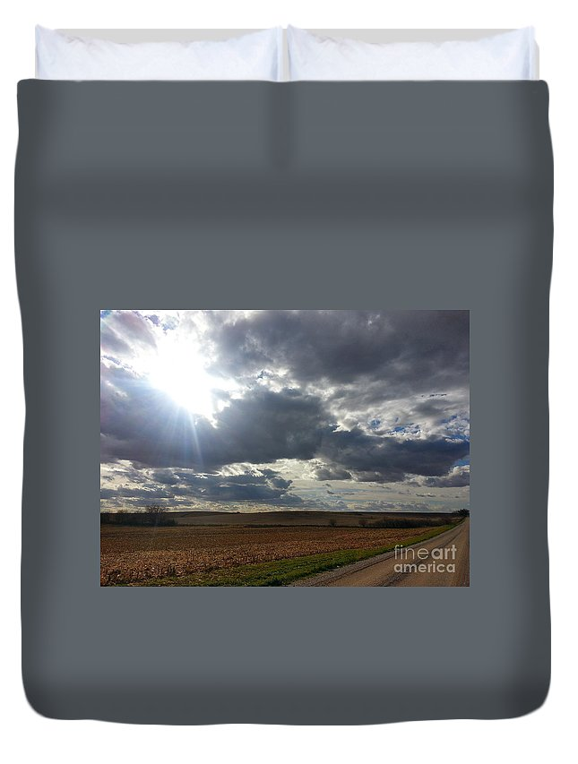Corn Duvet Cover featuring the photograph Before The Snow Flies by Caryl J Bohn