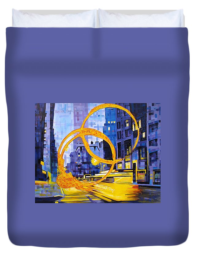 Dave Matthews Duvet Cover featuring the painting Before These Crowded Streets by Joshua Morton