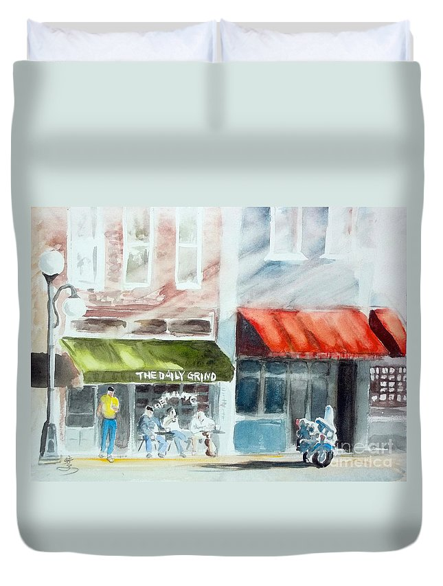 Street Duvet Cover featuring the painting beginning of the day at TECUMSEH MI by Yoshiko Mishina