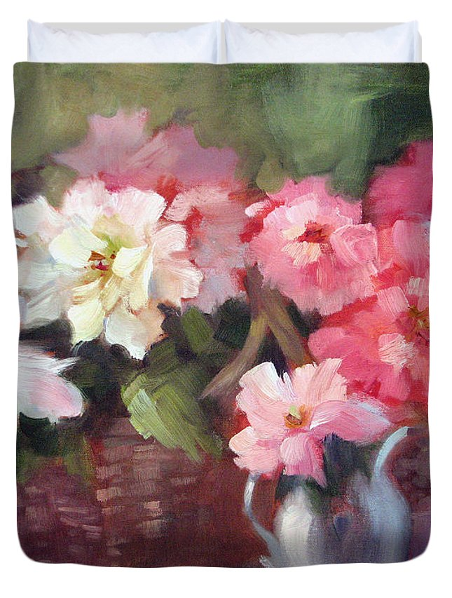 Begonias Duvet Cover featuring the painting Begonias by Karin Leonard