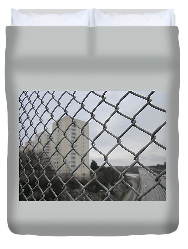 Greayweather Duvet Cover featuring the photograph Behind Bars by Rosita Larsson