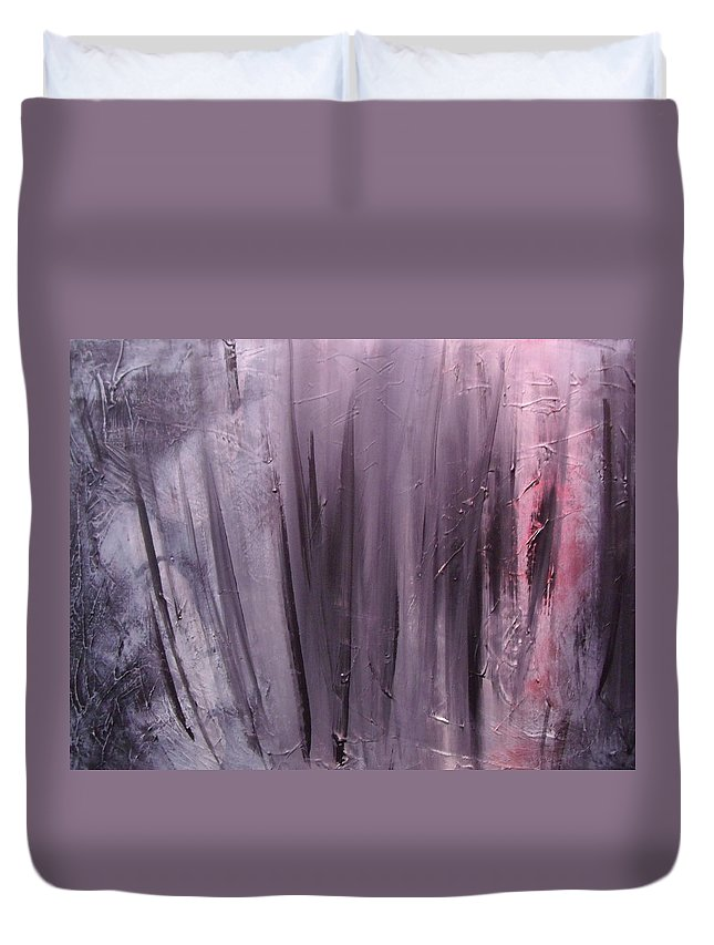 Abstract Duvet Cover featuring the painting Behind shadows by Sergey Bezhinets