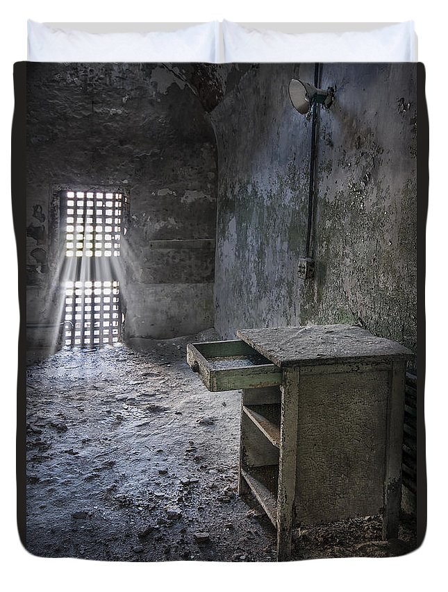 Eastern State Duvet Cover featuring the photograph Behind The Bars by Evelina Kremsdorf