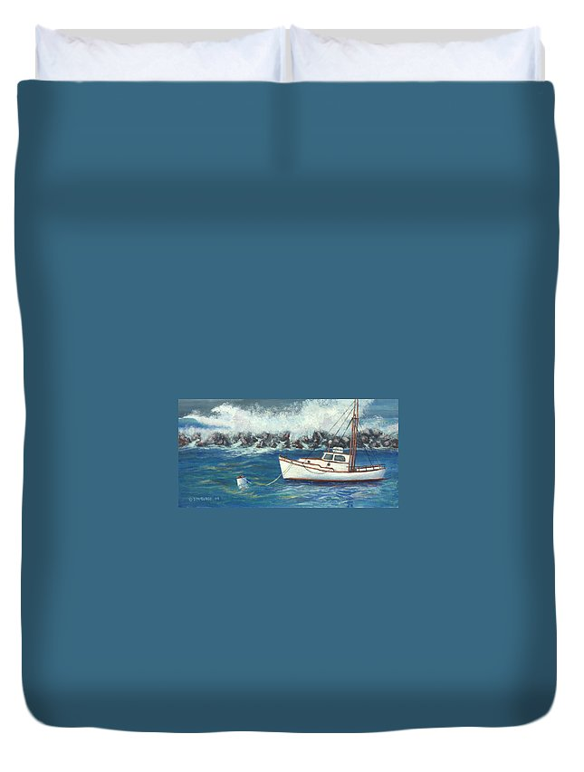 Ocean Duvet Cover featuring the painting Behind The Breakwall by Jerry McElroy