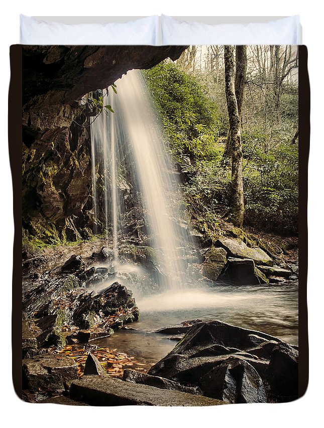 Grotto Falls Duvet Cover featuring the photograph Behind The Falls by Heather Applegate
