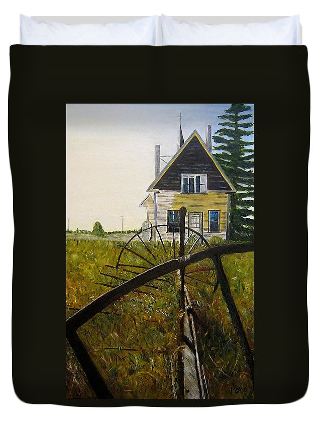 Church Duvet Cover featuring the painting Behind The Old Church by Marilyn McNish