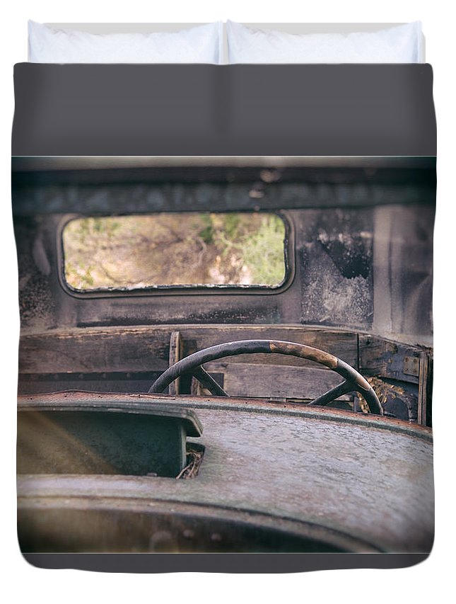 Abandoned Duvet Cover featuring the photograph Behind The Wheel by Peter Tellone