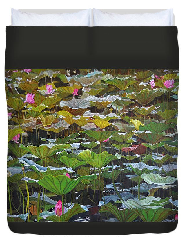 Waterlily Duvet Cover featuring the painting Beijing In August by Thu Nguyen