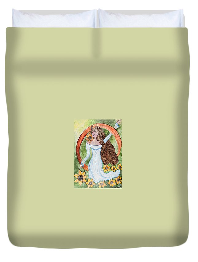 Amy Duvet Cover featuring the painting Being Born Again by Susana Khabbaz
