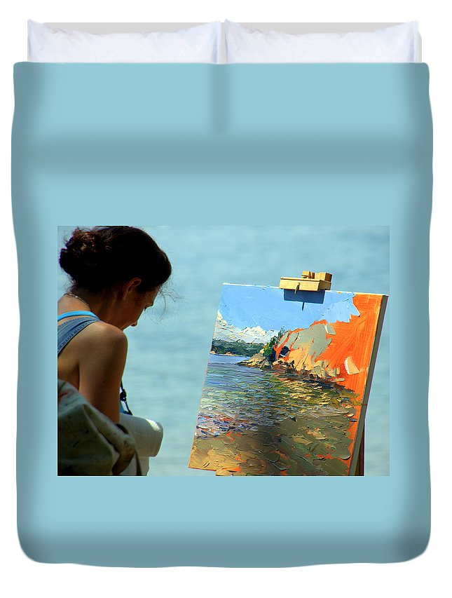 Artist Duvet Cover featuring the photograph Being Creative by Caroline Stella