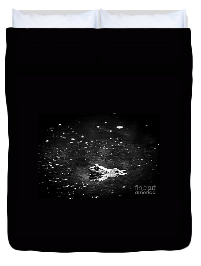 Frog Duvet Cover featuring the photograph Being Green In Black And White by Cheryl Baxter