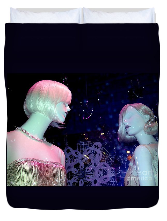 Mannequins Duvet Cover featuring the photograph Bejeweled Blondes by Ed Weidman