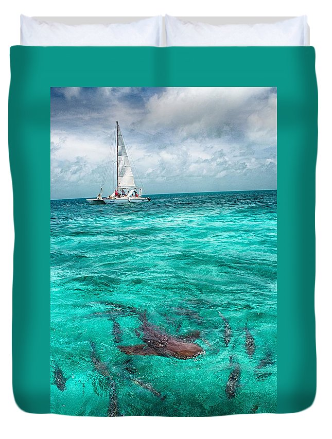 Shark Print Duvet Cover featuring the photograph Belize Turquoise Shark N Sail by Kristina Deane