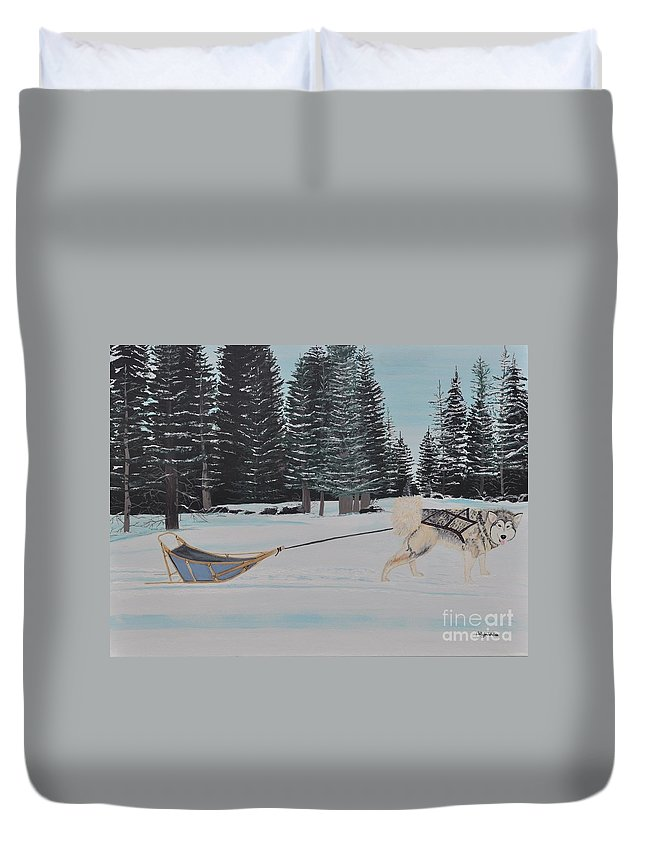 Land Scape Duvet Cover featuring the painting Belka by Sally Rice