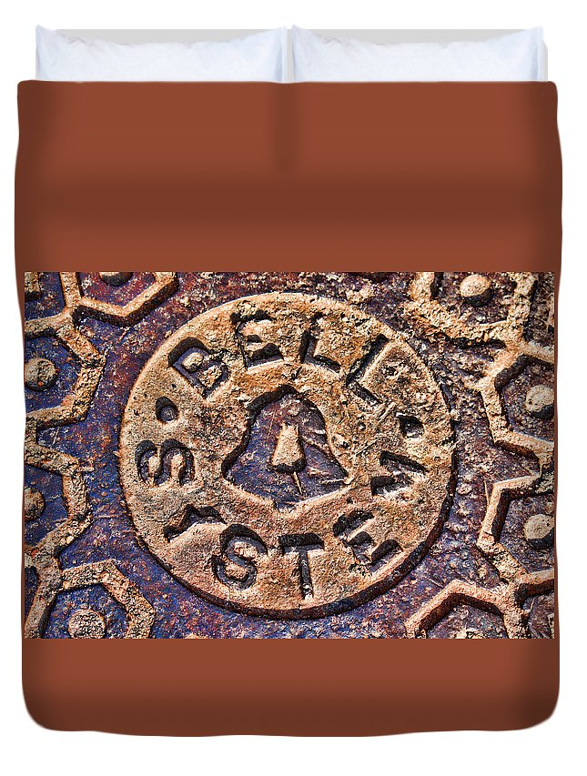 Medallion Duvet Cover featuring the photograph Bell Medallion by Sylvia Thornton