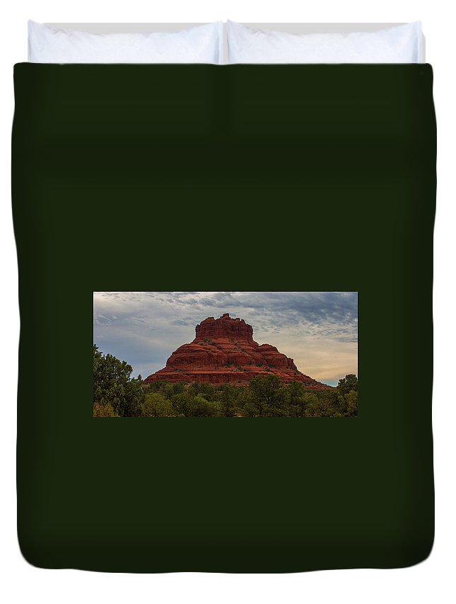 Sunrise Duvet Cover featuring the photograph Bell Rock In Sedona by Kathleen Odenthal