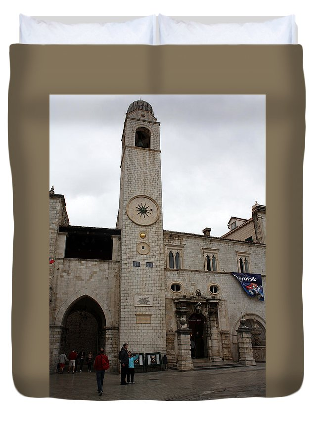 Dubrovnik Duvet Cover featuring the photograph Bell Tower At Luza Square by David Nicholls