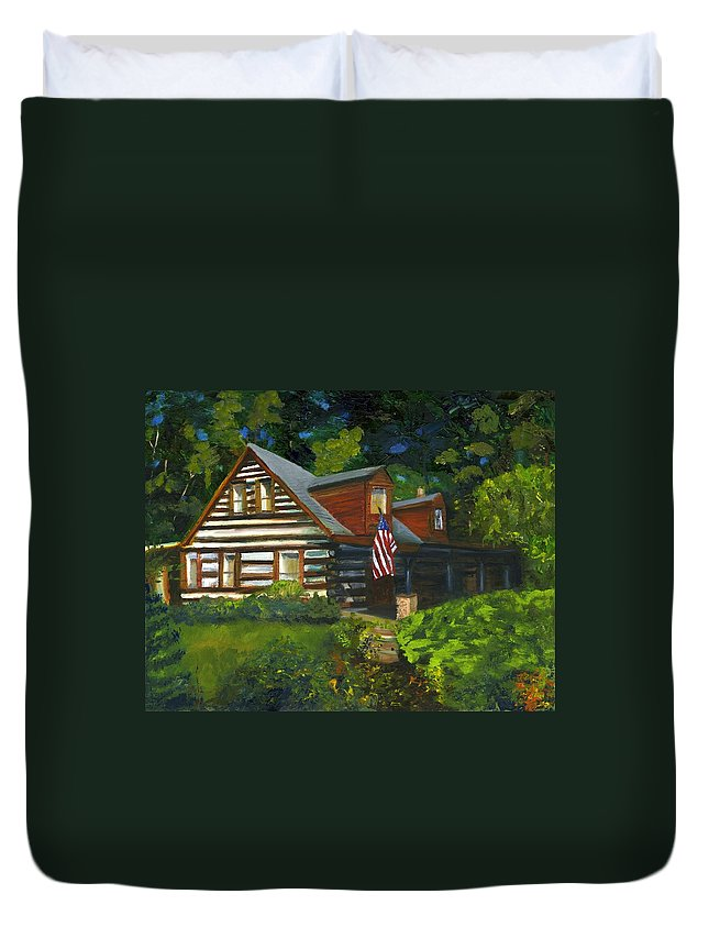 Log Cabin Duvet Cover featuring the painting Bella Machree by Gloria Condon