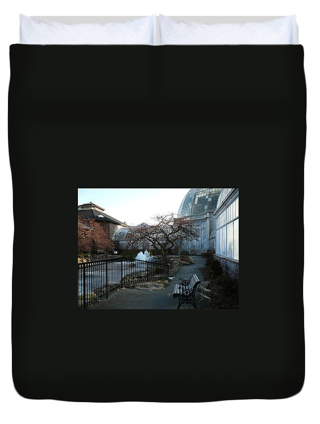 Detroit Duvet Cover featuring the photograph Belle Isle Conservatory Courtyard by Two Bridges North
