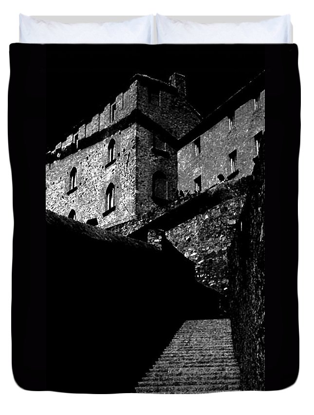 Digital Black And White Photo Duvet Cover featuring the digital art Bellinzona Castle Bw by Tim Richards