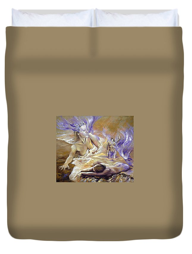 Mermaids Duvet Cover featuring the painting Belonging by Karina Llergo