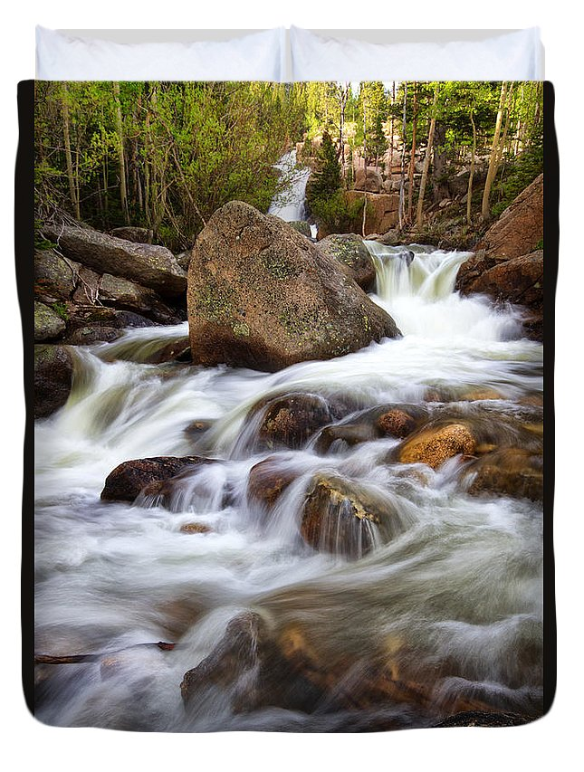 Rmnp Duvet Cover featuring the photograph Below Alberta Falls II by Ronda Kimbrow