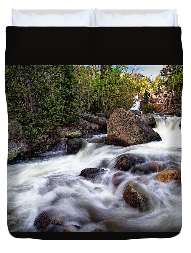 Rmnp Duvet Cover featuring the photograph Below Alberta Falls by Ronda Kimbrow