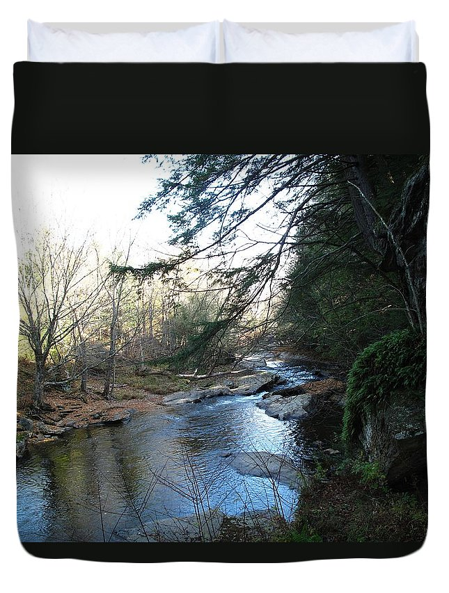 River Duvet Cover featuring the photograph Belvidere Junction Stream Vermont by Barbara McDevitt