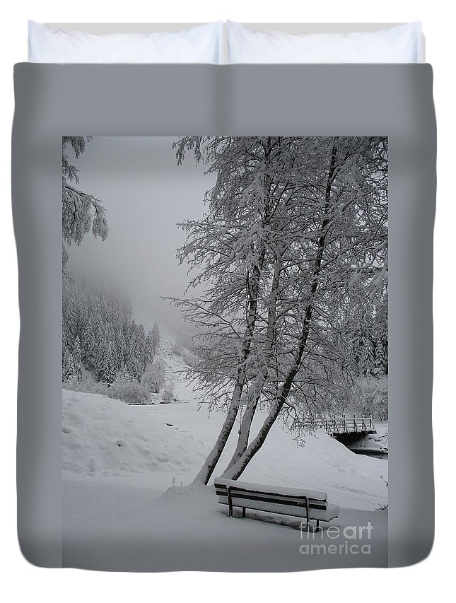 Bench Duvet Cover featuring the photograph Bench In The Snow by Christiane Schulze Art And Photography