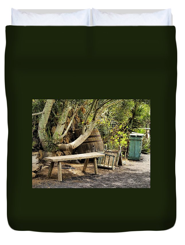 Bench Duvet Cover featuring the photograph Bench by Karol Kozlowski