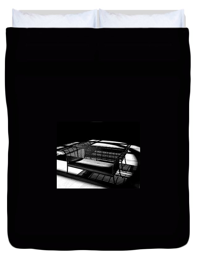 Bench Duvet Cover featuring the photograph Bench Shadows by Christopher McKenzie