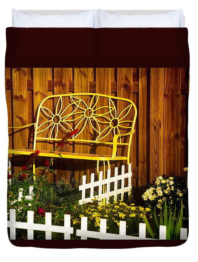 Landscape Duvet Cover featuring the photograph Bench With No Name by Mary Hahn Ward