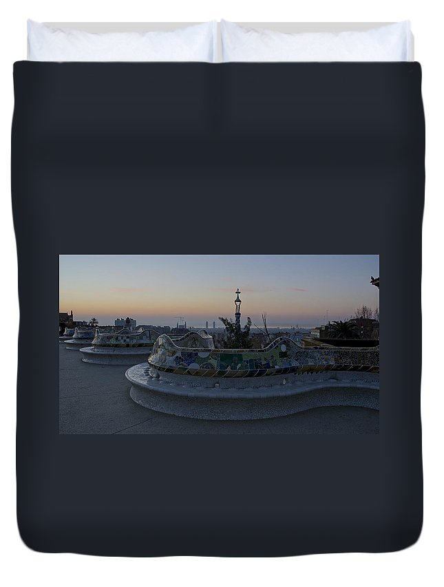 Parc Guell Duvet Cover featuring the photograph Benches At Parc Guell by Brian Kamprath