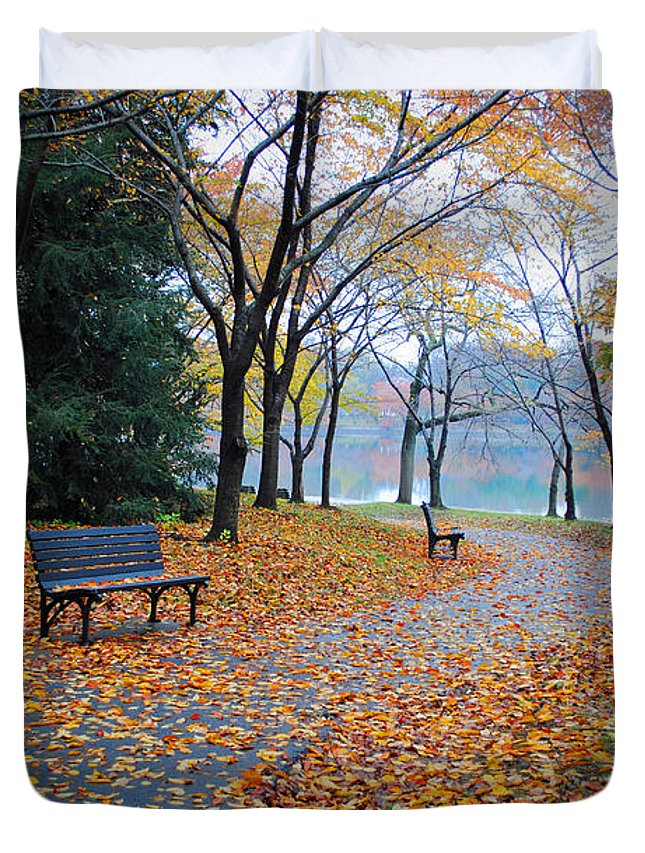 Fall Duvet Cover featuring the photograph Benches Of Fall by Jost Houk