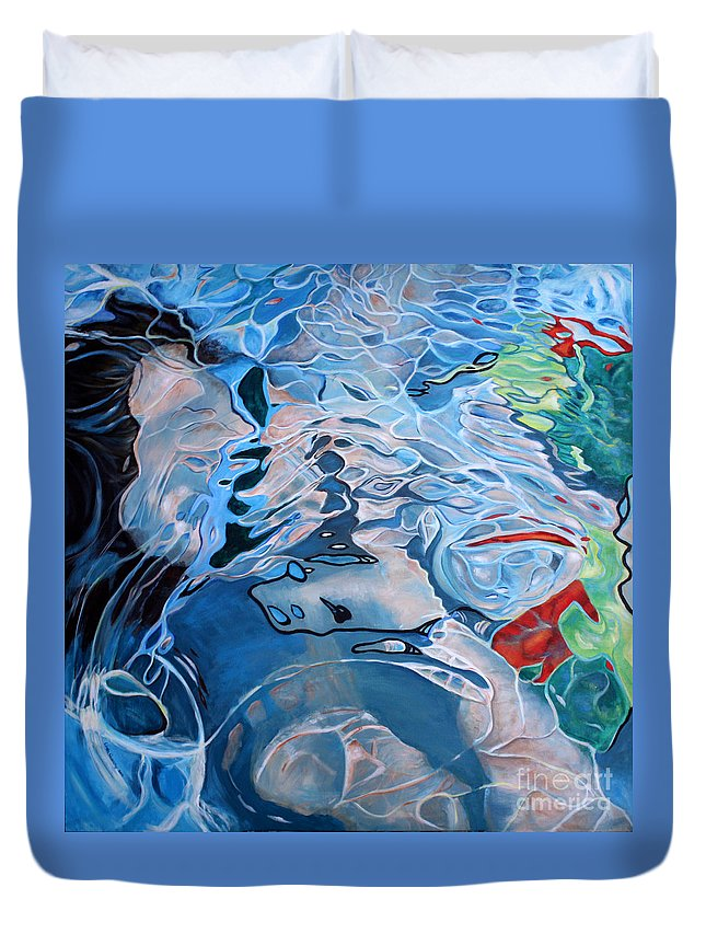 Underwater Duvet Cover featuring the painting Beneath The Surface by Linda Queally