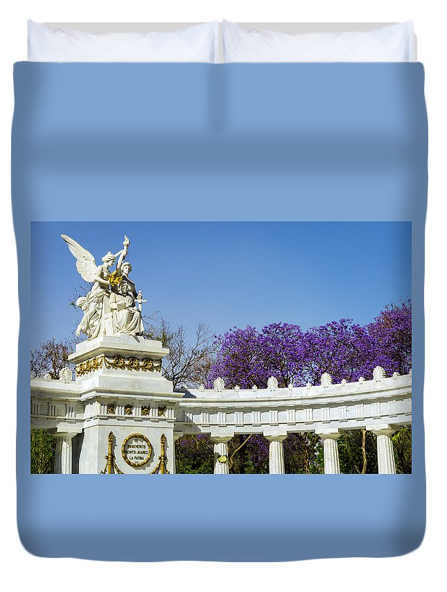 Mexico Duvet Cover featuring the photograph Benito Juarez Monument by Jess Kraft