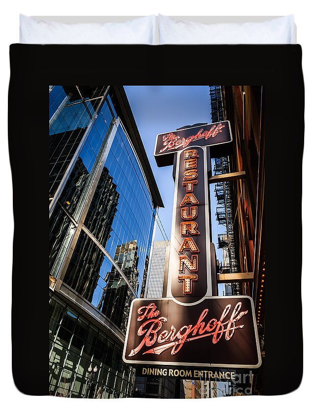 America Duvet Cover featuring the photograph Berghoff Restaurant Sign In Downtown Chicago by Paul Velgos