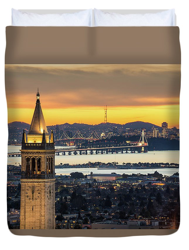 San Francisco Duvet Cover featuring the photograph Berkeley Campanile With Bay Bridge And by Chao Photography