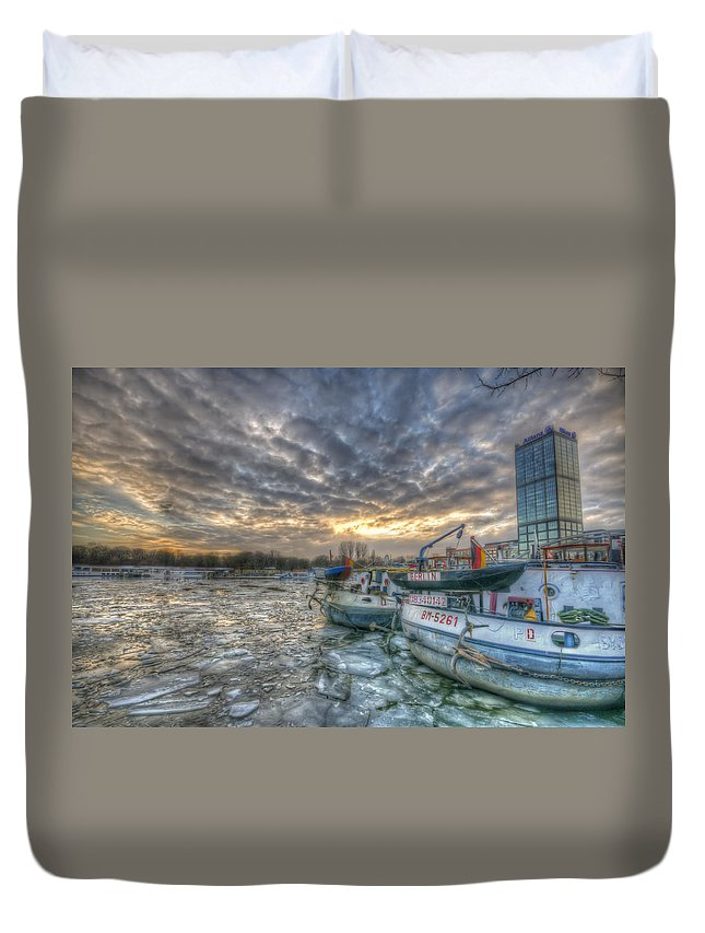 Architecture Duvet Cover featuring the digital art Berlin Ships by Nathan Wright